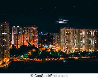 Scenic windows of skyscrapers at night. Skyscrapers windows ...