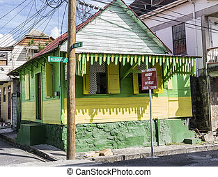 scenic wooden hut in the quarter Carib Territory in Roseau, Dominica