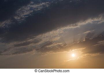 scenico, alba, cielo, fondo