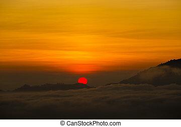 scenico, alba, e, foschia, a, batur, vulcano, kintamani,...