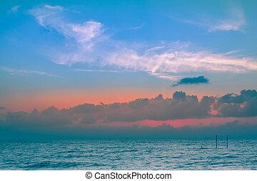 scenico, aurora arancia, cielo, fondo