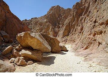 scenico, israele, deserto, ciottoli, canyon