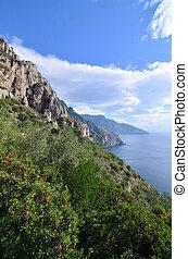 scenico, italia, amalfi, paesaggio, costa