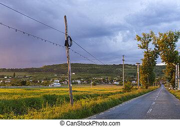 scenico, romania, strada paese, villaggio