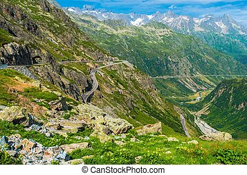 sceniczny, droga, alpejski