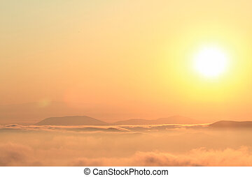sceniczny prospekt, od, piękny, zachód słońca, na, przedimek określony przed rzeczownikami, góry