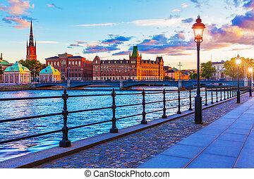 sceniczny, sztokholm, zachód słońca, szwecja