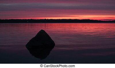 sceniczny, zachód słońca, jezioro