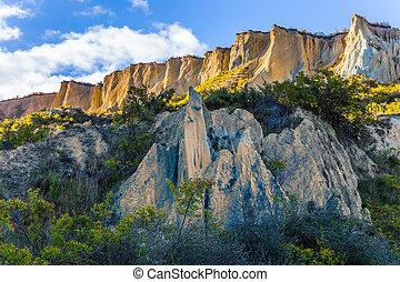 scenisk, lera, klippor