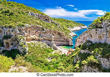 scenisk, strand, av, kroatien, på, vis, ö