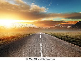 scenisk, väg, genom, mountains