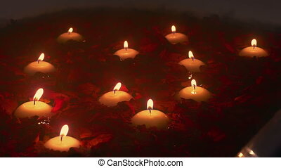 Scented Candles And Rose Petals In Steamy Bath - Scented...