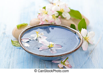 Scented water and flowers. - Spring flowers for spa and...