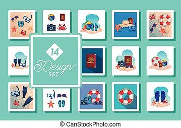 sceny, czternaście, projekty, ikony, komplet, lato