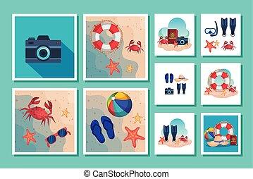 sceny, lato, ikony, plik