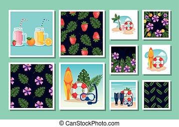 sceny, wzory, tropicals, lato, plik