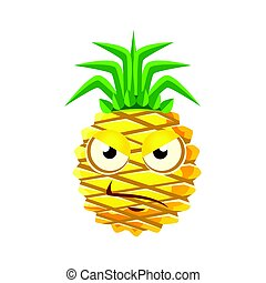 Sceptic pineapple face. Cute cartoon emoji character vector Illustration