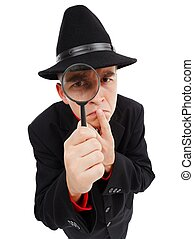 Sceptical detective looking through magnifying glass -...