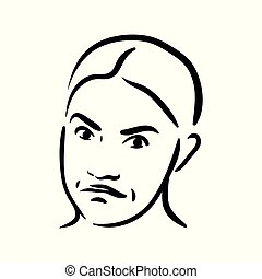 Vector sceptical face emotion icon on white background