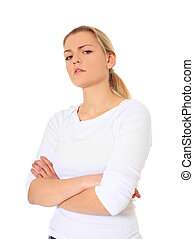 Sceptical look - Attractive blonde woman with a sceptical ...