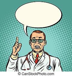 Sceptical male doctor. Medicine and health. Comic cartoon pop art retro vector illustration drawing