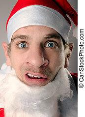 sceptical, weird Santa Claus - a Santa Claus looking funnily...