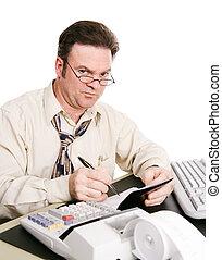 sceptique, mari, à, livre chèque