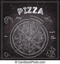 scetch, pizza, svart, bord, räka