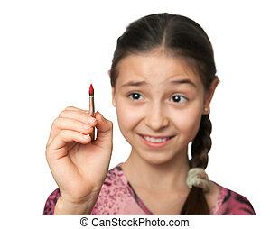 scettico, ragazza, disegnare, uno, spazzola, in, spazio