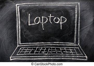 schéma craie, de, ordinateur portable