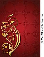 schémas floraux, arrière-plan rouge