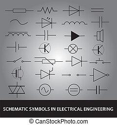 schématický, symbol, do, elektrický, inženýrství, ikona, dát, eps10