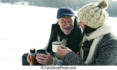 schöne , ältere paare, auf, schlitten, teetrinken, winter,...