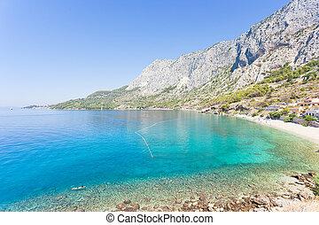 schöne , überblick, -, bucht, über, kroatien, drasnice,...