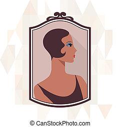 schöne , 1920s, retro, hintergrund, m�dchen, style.