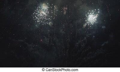 schöne , abend, blick, leute, feuerwerk, feiertag