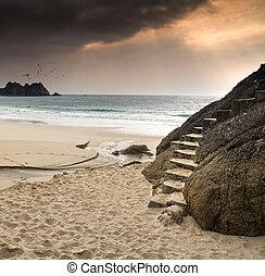schöne , abgeschieden, sandstrand, geschnitzt, gestein, treppe