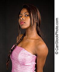 schöne , afrikanische amerikanische dame, posierend