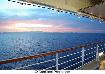 schöne , ansicht, von, deck, von, segeltörn, ship., sunset., reihe, von, lamps.