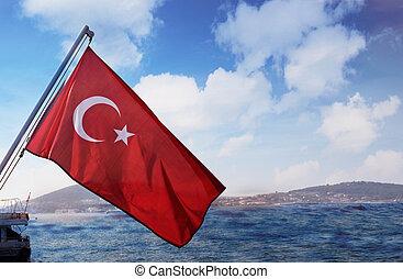 schöne , ansicht, von, stadt, von, der, bosphorus, golf, in, türkei, istanbul