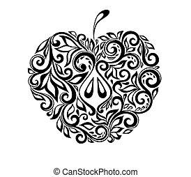 schöne , apfel, pattern., schwarz, blumen-, weißes, dekoriert