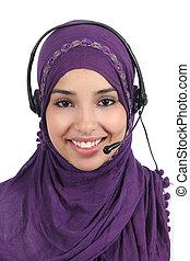 schöne , araber, frau, bediener, mit, kopfhörer