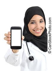 schöne , araber, weiblicher doktor, ausstellung, a, leer, klug, telefon, schirm, freigestellt