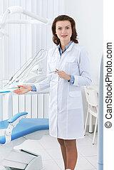 schöne , assistent, stuhl zahnarzt, shows