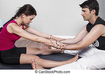 schöne , athletische, ehepaar., sport gesundheit, szene