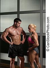 schöne , athletische, paar, nach, training