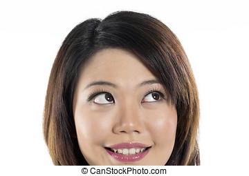 schöne , auf., frau, chinesisches , schauen, closeup