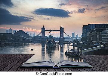 schöne , aufsatz überbrücken, aus, herbst, herbst, buch, themse, kommen, london, dämmern, fluß, seiten, sonnenaufgang, heraus