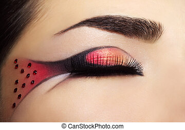 schöne , auge, mit, kreativ, make-up