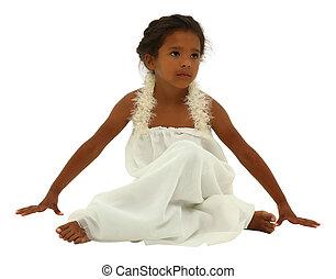 schöne , ausschnitt, engelchen, aus, schwarz, white., kind, pfad, m�dchen, kleiden, weißes